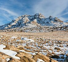 Desert in the winter with mountains and sage brush by Alan Mitchell