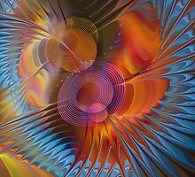 Energy fields, abstract fractal pillow by walstraasart
