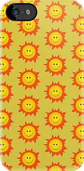 Happy Smiling Sun Pattern Case by Boriana Giormova