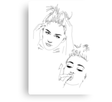 Miley Compilation - Simple Lines Canvas Print