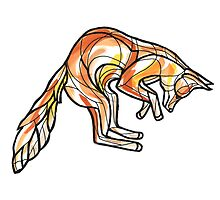 Geometric Leaping Fox by IldiCoco