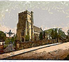 A digital painting of St Mary the Virgin Church at Battle, East Sussex, England founded CE1115 by Dennis Melling