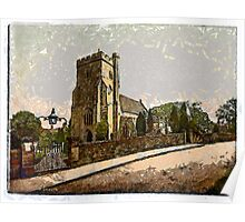 A digital painting of St Mary the Virgin Church at Battle, East Sussex, England founded CE1115 Poster