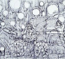 the PINK FLOYD in concert - drawing portrait by lautir