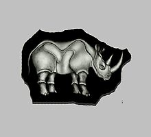 Rhino Pillow by Angelina Elander
