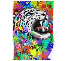 Leopard Psychedelic Paint Splats Poster