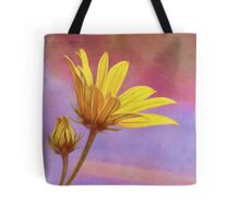 Painted Swamp Sunflower and Bud Along the Fence Tote Bag