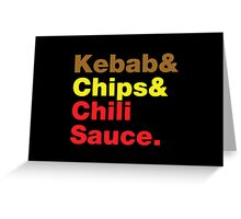 Kebab & Chips & Chili Sauce. Greeting Card