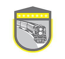 Steam Train Locomotive Retro Shield by patrimonio