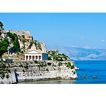 Greek Temple on Coast of Corfu Photographic Print