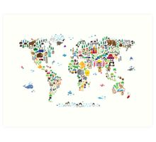 Animal Map of the World for children and kids Art Print