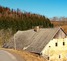 Traditional abandoned farmhouse   architectural photography Sticker