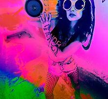 Pop Art Boombox Girl by btphoto