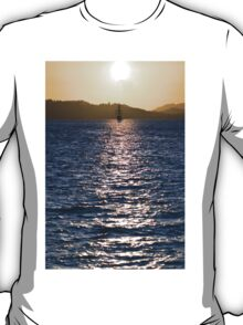 Sailboat bathed in dawn sunlight T-Shirt