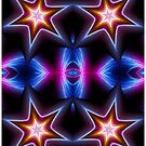 Neon Stars Fractal Art 2 by Tori Snow