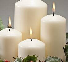 Advent wreath with burning candles  by 3523studio