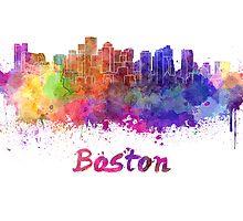 Boston skyline in watercolor by paulrommer