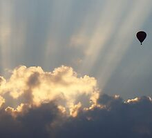 Hot Air Balloon At Sunset by davidandmandy