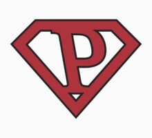 P letter in Superman style by florintenica