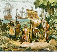 A digital painting of Columbus taking possession of the new country by Dennis Melling