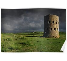 Martello Tower Landscape Guernsey Poster