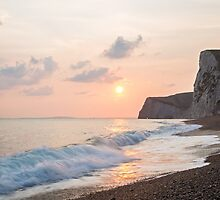 Sundown at Durdle Door beach by Ian Middleton