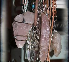 Rose Quartz crystal pendants by Maree  Clarkson