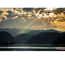 Angel rays over Lake Bled Photographic Print