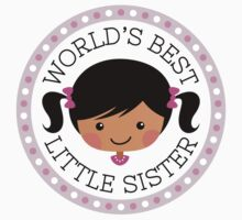 World's best little sister sticker, cartoon girl with dark skin and black hair by MheaDesign