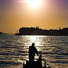 Romantic Venice Sunset Gondola by daphsam