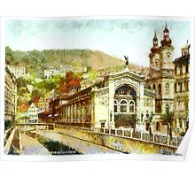 A digital painting of Sprudel Colonnade, Carlsbad, Bohemia, Austro-Hungarian Empire. Poster
