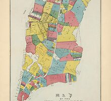 Antique Map of New York City from 1852 by bluemonocle