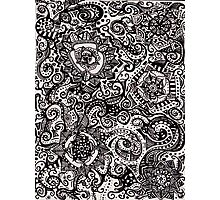 Black Flower Pattern 3 Photographic Print