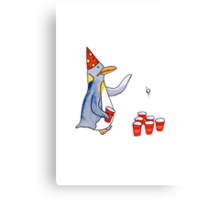 Beer Pong Penguin Canvas Print