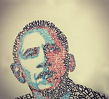 Obama rendered in typography by Zainabelec