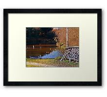 Romantic bench at the pond II | waterscape photography Framed Print