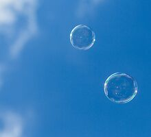 Blue Sky and Bubbles by Kyra Savolainen