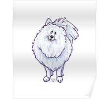 Animal Parade White Pomeranian Poster