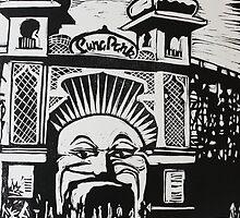 Luna Park linocut print by Matthew Broughton
