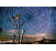 Polaris Star Trails Spin Around Yucca in Joshua Tree Photographic Print