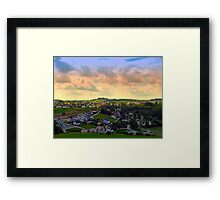 Beautiful village skyline beyond cloudy sky | landscape photography Framed Print