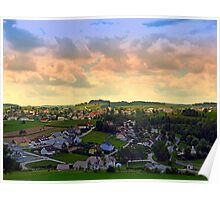 Beautiful village skyline beyond cloudy sky | landscape photography Poster