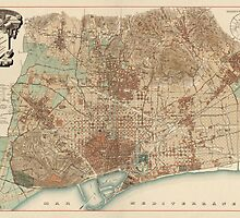Antique Map of Barcelona, Spain from 1891 by bluemonocle