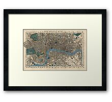 Antique Map of London, England from 1860 Framed Print