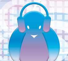 PENGUIN WITH HEADPHONE by Natasja Bergshoeff
