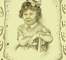 Self - Portrait - Age 3 - Sepia - with Boarder by julieannart