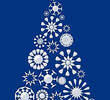 Pine Tree Snowflakes - Dark Blue by Anastasiya Malakhova