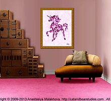 Interior Design Idea - Pink Unicorn - Animal Art by Anastasiya Malakhova