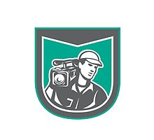 Cameraman Film Crew HD Camera Video Side Retro by patrimonio