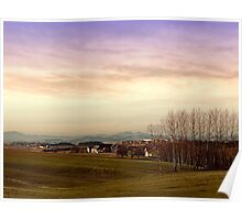 Beautiful panorama under a cloudy sky | landscape photography Poster